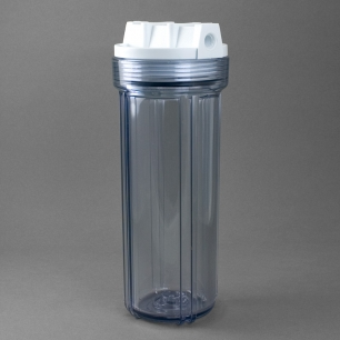 """Clear Filter Housing for 2.5"""" X 9.75"""" Cartridges, 1/4"""" Threaded Ports"""
